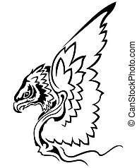 Eagle with raised wings