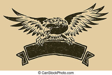 Eagle with ribbon - Vector file includes 3 layers:...