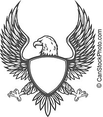 Eagle with shield isolated on white background. Design...