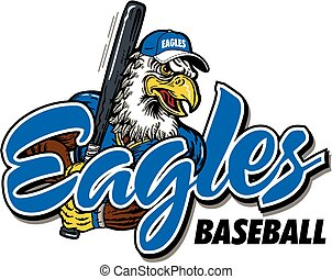 eagles baseball design with mascot swinging bat