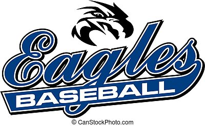 eagles baseball team design in script with mascot head for...