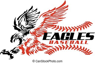 eagles baseball team design with stitches and flying mascot...