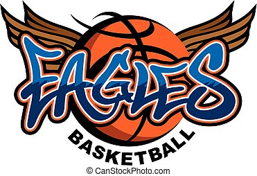 eagles basketball team design with winged basketball for...