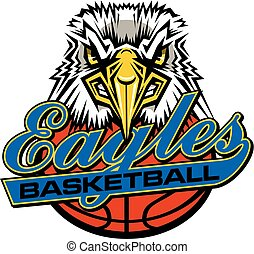 eagles basketball team design in script with ball and mascot...