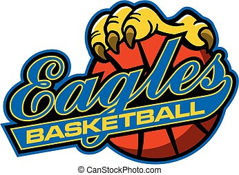 eagles basketball team design in script with large claw holding ball for school, college or league