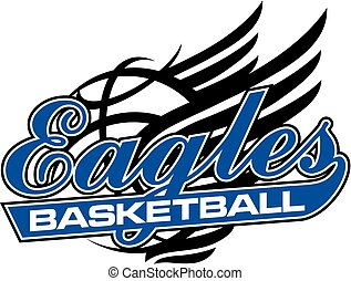 eagles basketball team design in script with winged ball for...