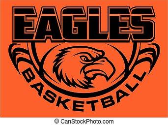 eagles basketball team design with mascot head inside ball ...