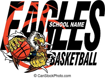 eagles basketball team design with mascot ripping through...