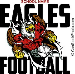 eagles football team design with mascot ripping through the...