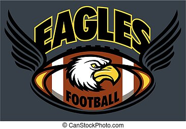 eagles football team design with mascot, ball and wings for...