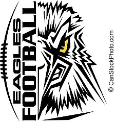 eagles football team design with mascot and laces for...