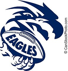 eagles football team design with mascot holding ball in claw for school, college or league