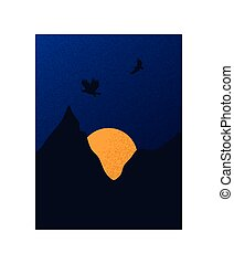 Eagles silhouettes flying over sunset background