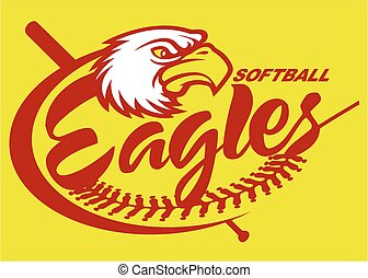eagles softball team design with mascot for school, college...