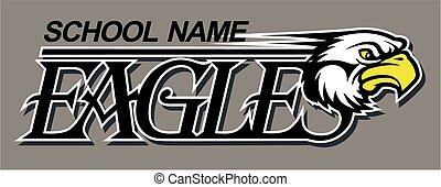 eagles team design with mascot head for school, college or ...