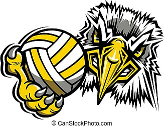eagles volleyball team mascot holding ball for school, college or league