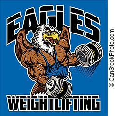 eagles weightlifting team design with muscular mascot for...