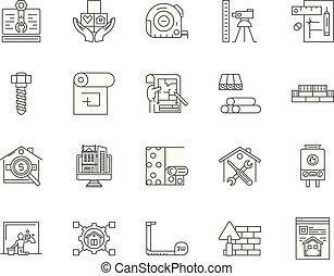 eaport, begriff, grobdarstellung, satz, heiligenbilder, abbildung, vektor, linie, zeichen & schilder