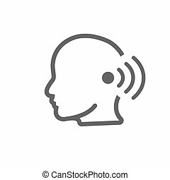 Ear and ear canal outline icon image for hearing / listening...