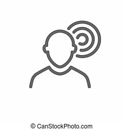 Ear and ear canal outline icon image for hearing / listening loss
