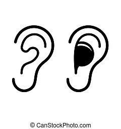 Ear and Earplug Icons Set. Vector illustration