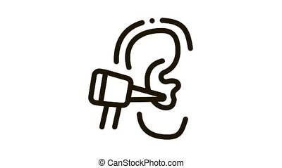 Ear Check Icon Animation. black Ear Check animated icon on white background