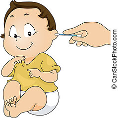 Ear Cleaning - Illustration of a Baby Getting His Ear ...