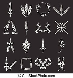 Ear corn icons set grey vector