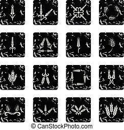 Ear corn icons set grunge vector