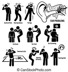 Set of illustrations for ear problem which include the symptoms, causes, risk factors, and the diagnosis for the illness.