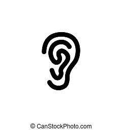 Ear Flat Vector Icon - Ear. Flat Vector Icon illustration....