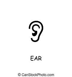Ear flat vector icon