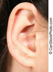 listening sound - ear girl close up listening sound