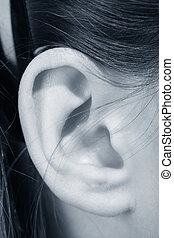 ear girl close up listening sound