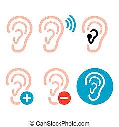 Ear hearing aid, deaf person