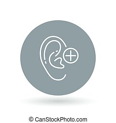 Ear hearing aid icon. Ear hearing volume sign. Ear hearing plus symbol. Vector illustration.