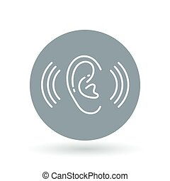 Ear hearing aid icon. Volume increase sign. Ear hear symbol. Vector illustration.