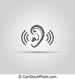 Ear, hearing aid isolated vector medical icon or sign