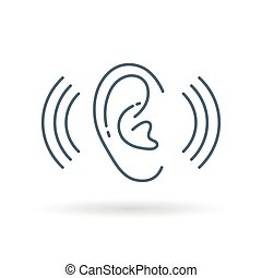Ear hearing icon white background