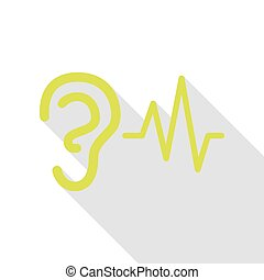 Ear hearing sound sign. Pear icon with flat style shadow path.