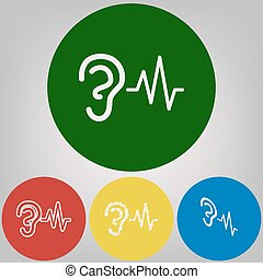 Ear hearing sound sign. Vector. 4 white styles of icon at 4...