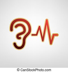 Ear hearing sound sign. Vector. Red icon on gold sticker at...