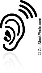 Ear hearing vector icon isolated on white background