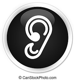Ear icon black glossy round button