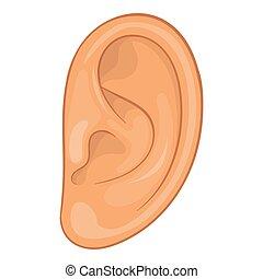 Ear icon, cartoon style - Ear icon. Cartoon illustration of...