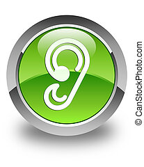 Ear icon glossy green round button