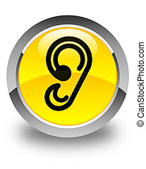 Ear icon glossy yellow round button