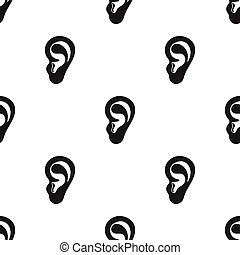 Ear icon in black style isolated on white background. Part of body pattern stock vector illustration.
