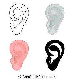 Ear icon in cartoon style isolated on white background. Part of body symbol stock vector illustration.