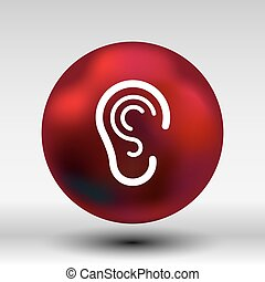 ear icon listen vector hear deaf human sign.